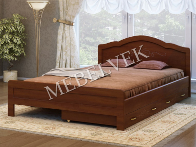 Односпальная кровать из массива сосны Авола с 2 ящиками