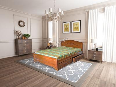 Односпальная кровать из массива сосны Будапешт с ящиками