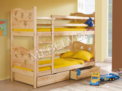 Двухъярусная кровать из массива дерева Звезда