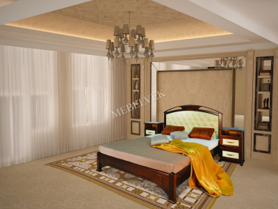 Двуспальная кровать из массива сосны Дублин - 1