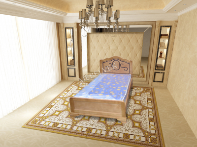 Двуспальная кровать из массива сосны Гелиос