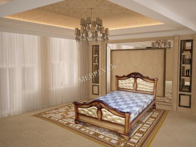 Односпальная кровать из массива сосны Гермес с мягким изголовьем