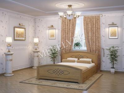 Односпальная кровать из массива сосны Иллирия с 2 ящиками