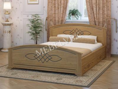 Двуспальная кровать из массива сосны Иллириа с 2 ящиками