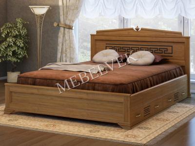 Двуспальная кровать из массива сосны Италия с 2 ящиками
