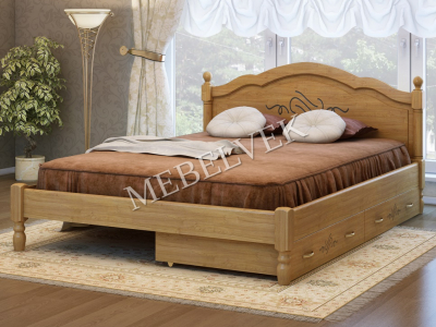 Двуспальная кровать из массива сосны Кассандра с 2 ящиками