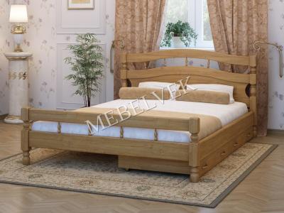 Двуспальная кровать из массива сосны Киото с 2 ящиками