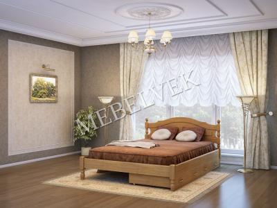 Односпальная кровать из массива сосны Корсика с 2 ящиками