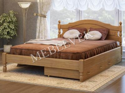 Двуспальная кровать из массива сосны Корсика с 2 ящиками
