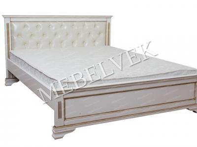 Двуспальная недорогая кровать с подъемным механизмом  Муза с кожей