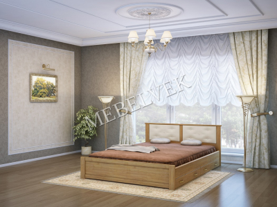 Односпальная кровать из массива сосны Лоди с 2 ящиками