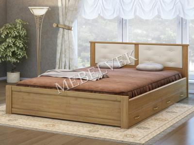 Двуспальная кровать из массива сосны Лоди с 2 ящиками