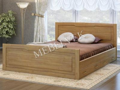 Двуспальная кровать из массива сосны Милан с 2 ящиками