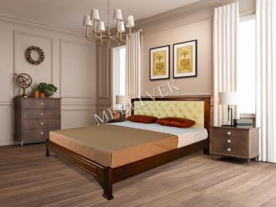 Кровать с ортопедическим основанием Мурсия Цвет: Грецкий орех 2 Размер: 140x200 с 2 малыми ящиками Распродажа