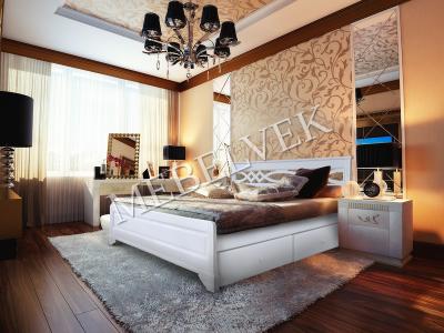 Двуспальная кровать из массива сосны Муза с ящиками
