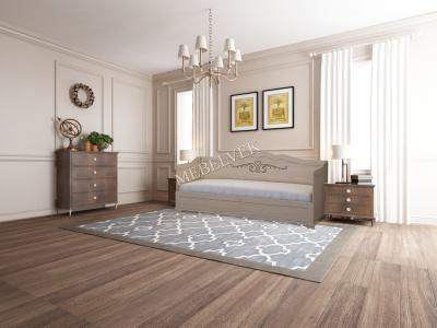 Односпальная белая кровать  Будапешт 3 спинки