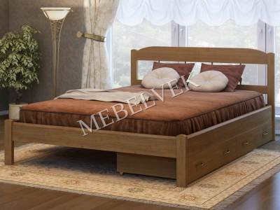 Двуспальная кровать из дерева  Океан с 2 ящиками