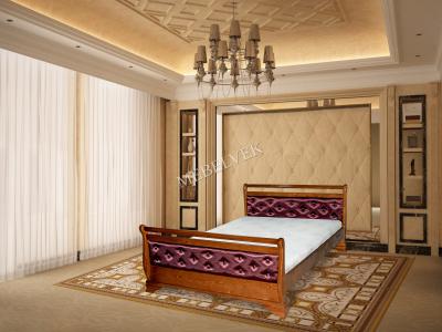 Двуспальная кровать из массива дерева Орион с мягким изголовьем
