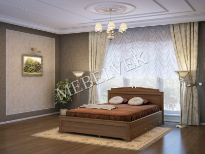Односпальная кровать на заказ Рим с 2 ящиками