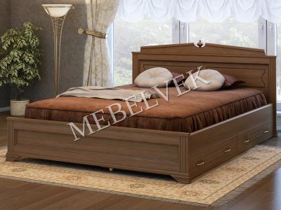 Двуспальная кровать из массива дерева Рим с 2 ящиками