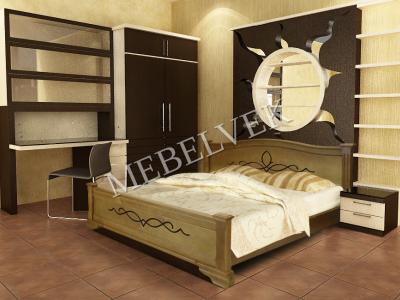 Двуспальная кровать из массива дерева Рондо