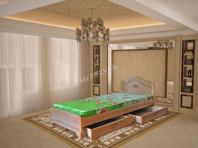 Двуспальная кровать из массива дерева Севилья  с ящиками
