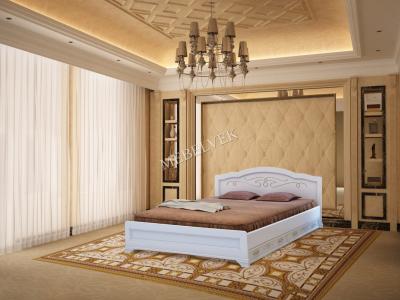 Двуспальная кровать из массива дерева Торино с 2 ящиками
