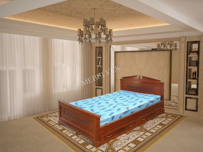 Двуспальная кровать из массива дерева Тоскания с ящиками