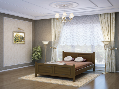 Двуспальная кровать из массива сосны Варна
