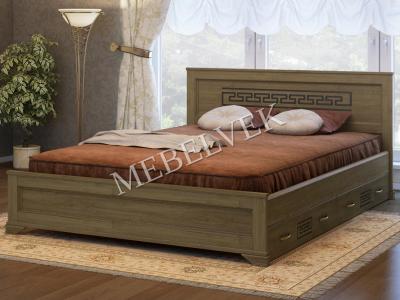 Двуспальная кровать из массива сосны Венеция с 2 ящиками