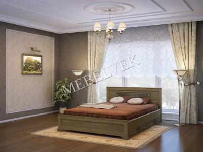 Односпальная кровать из массива сосны Венеция c 2 ящиками