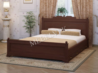 Двуспальная кровать из массива сосны Венера 2 с 2 ящиками