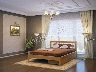 Односпальная кровать из массива сосны Веста c 2 ящиками
