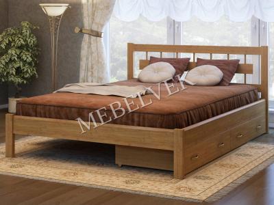 Двуспальная кровать из массива сосны Веста с 2 ящиками