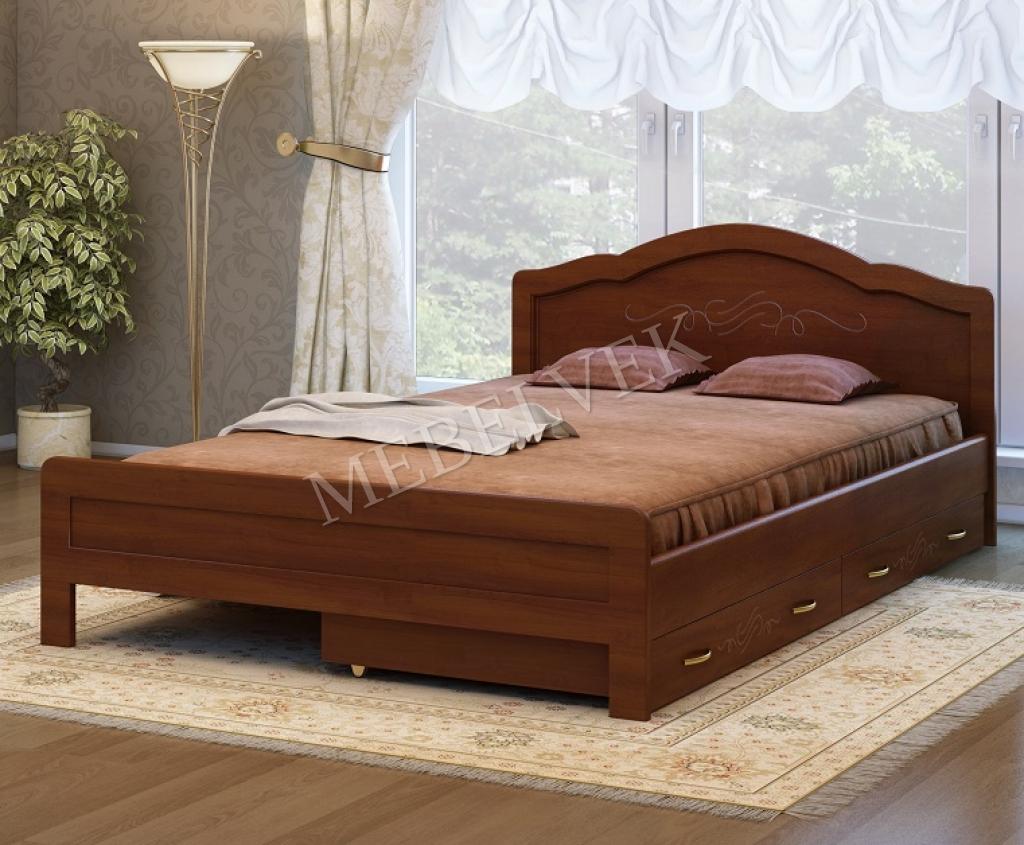 двуспальная кровать авола с 2 ящиками мебель из массива в москве