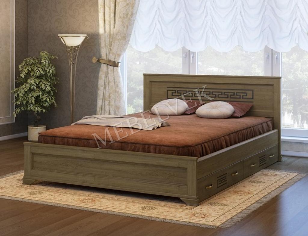 Кровать Венеция c 2 ящиками из дуба