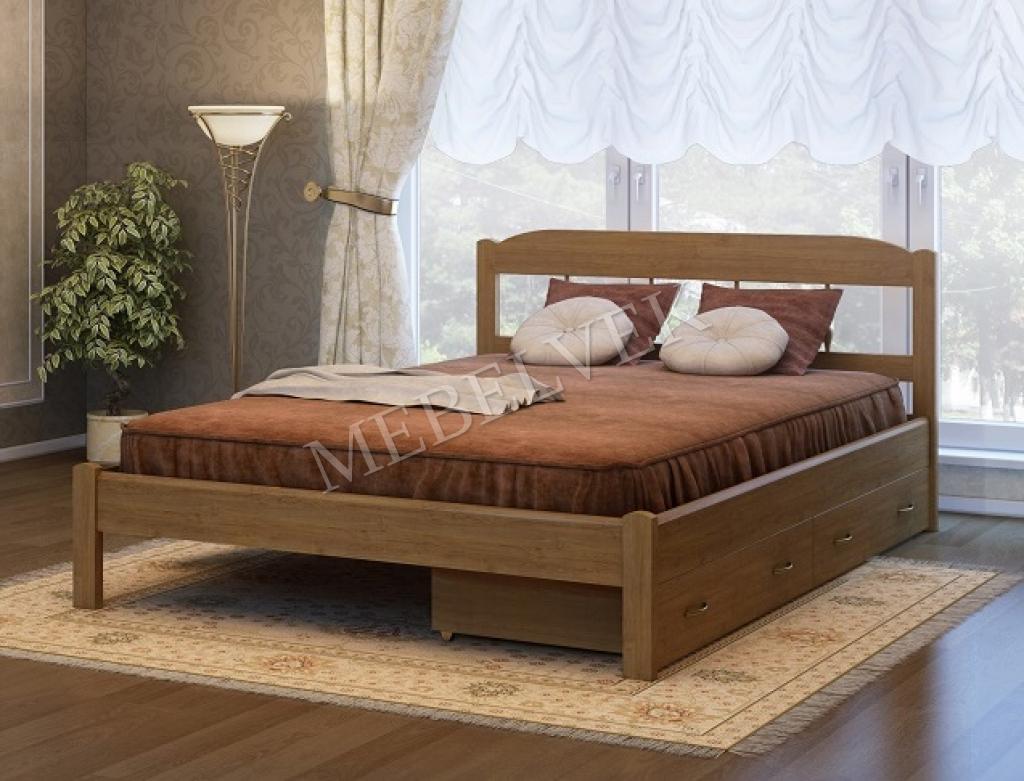 Кровать Океан с 2 ящиками из массива березы