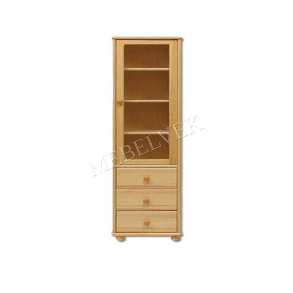 Одностворчатый шкаф книжный 01 с ящиками (материал: массив дерева) с полками